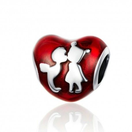 Sterling silver charm Boy and girl friends