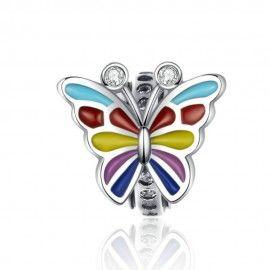Zilveren bedel Kleurrijke vlinder