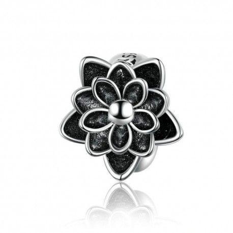 Zilveren bedel Zwarte lotusbloem