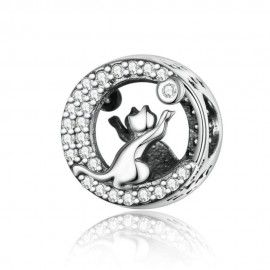 Sterling silver charm A kitten playing