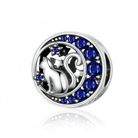 Zilveren bedel Kitten met blauwe maan