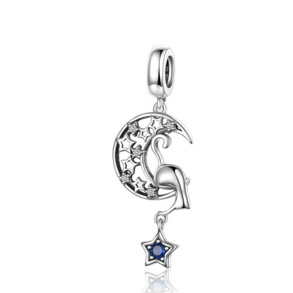 Sterling silver pendant charm Curious cat with moon and star