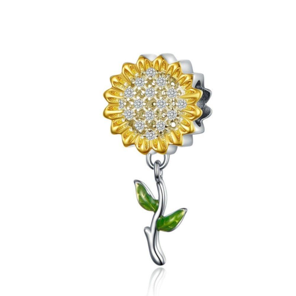 Zilveren bedel Goudkleurige zonnebloem