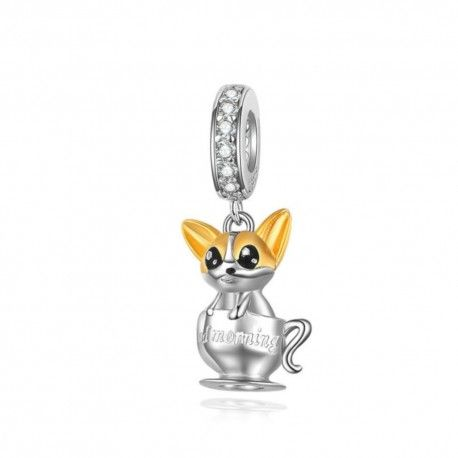 Sterling silver pendant charm Good morning cup with puppy
