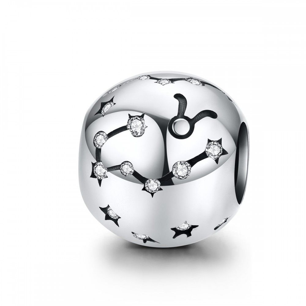 Sterling silver charm Zodiac sign Taurus with zirconia