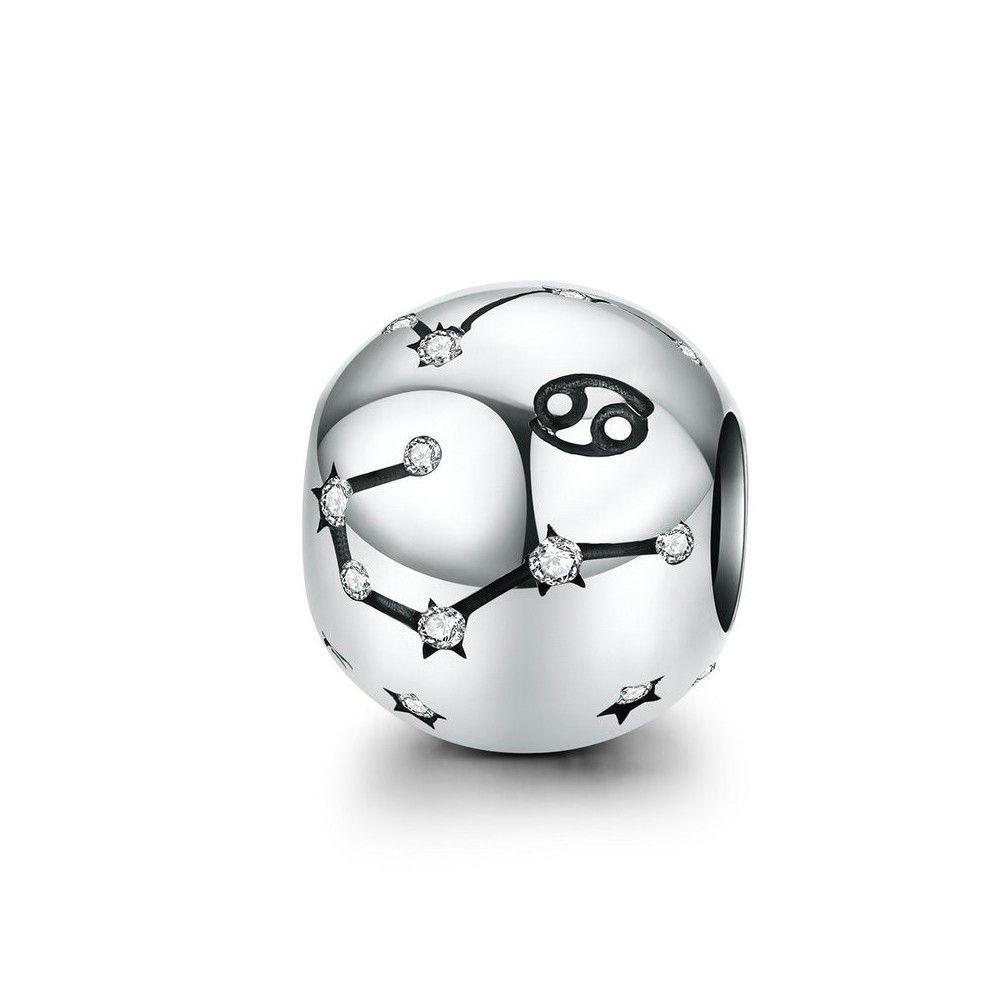 Zilveren bedel Sterrenbeeld Kreeft met zirconia