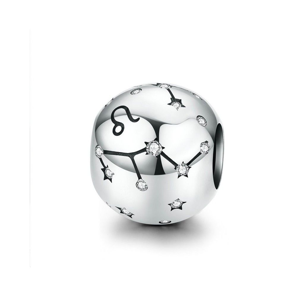 Sterling silver charm Zodiac sign Leo with zirconia