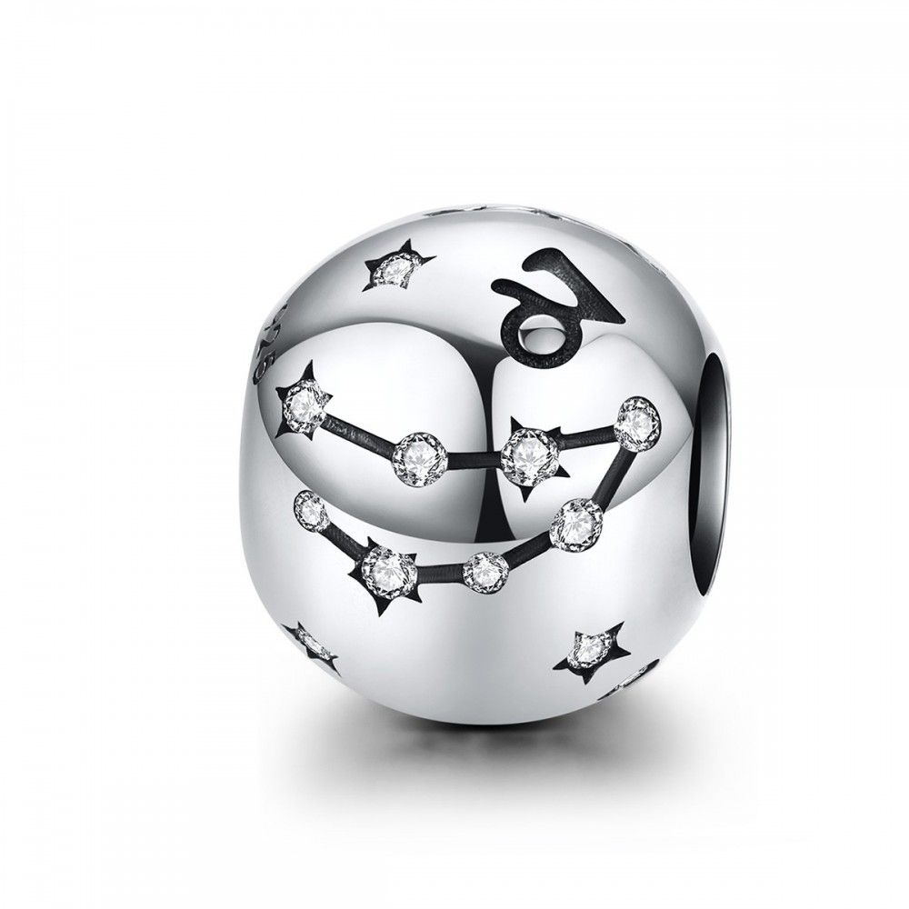 Sterling silver charm Zodiac sign Capricorn with zirconia