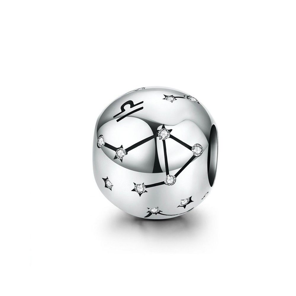 Sterling silver charm Zodiac sign Libra with zirconia