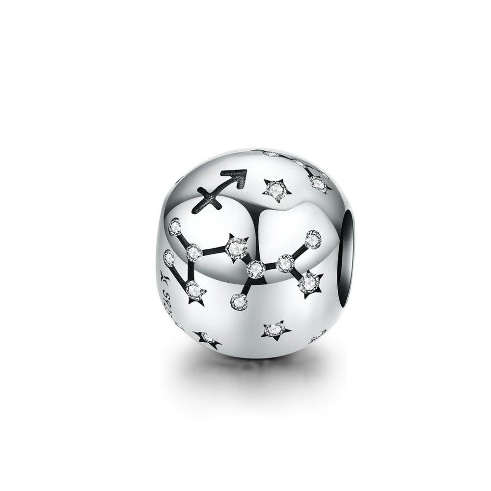 Sterling silver charm Zodiac sign Sagittarius with zirconia