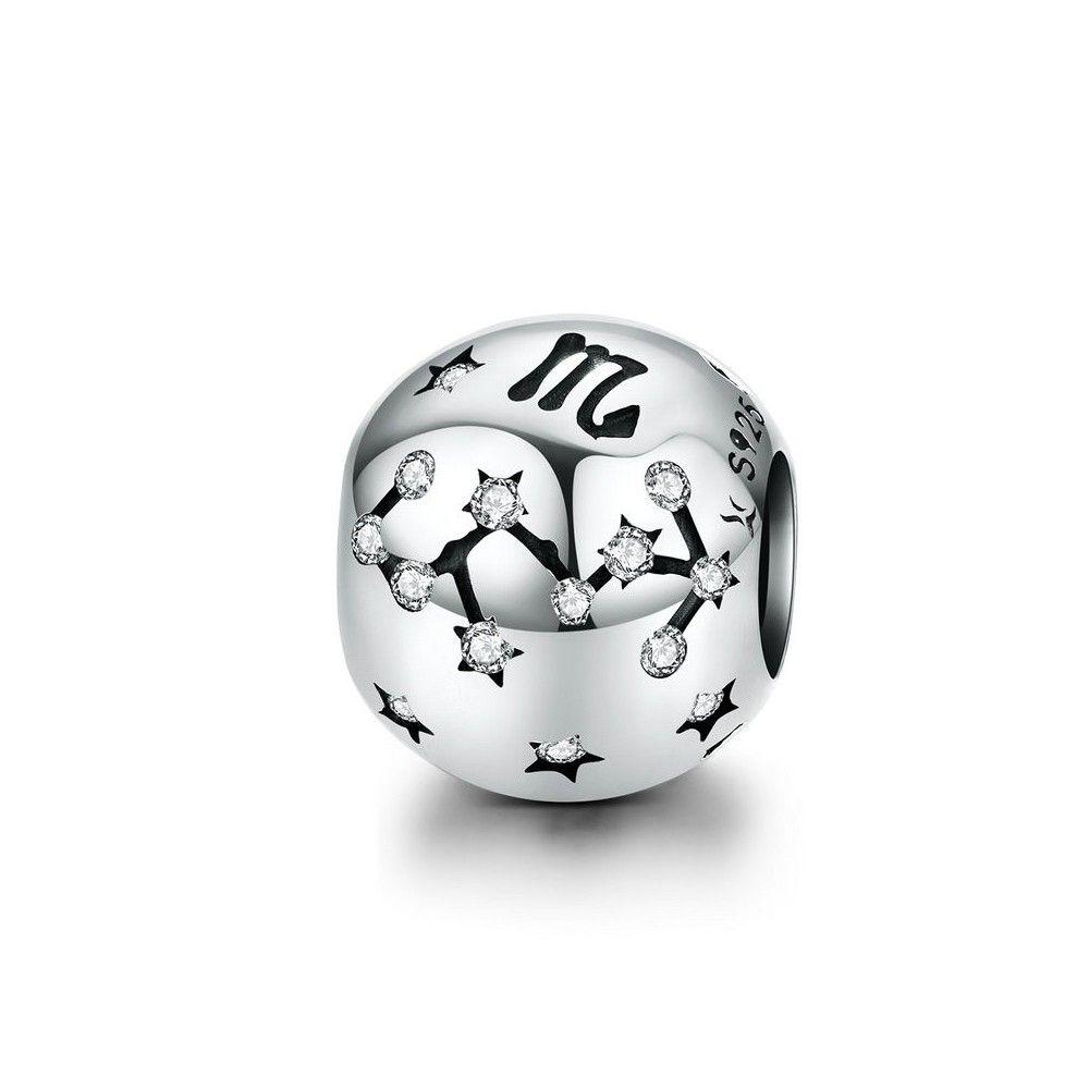 Sterling silver charm Zodiac sign Scorpio with zirconia