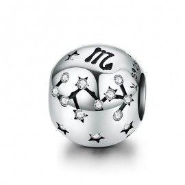Charm en plata de Ley Escorpio del signo del zodiaco con zirconia