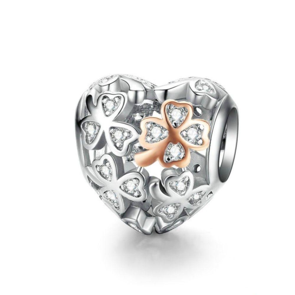 Zilveren bedel Klavertje vier hartvormig