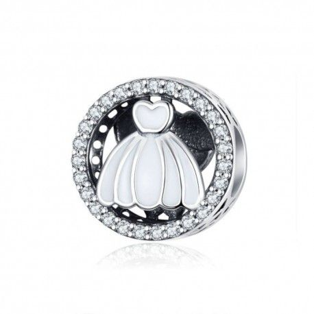 Sterling silver charm Wedding dress