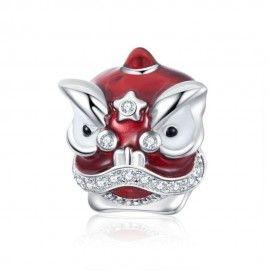 Zilveren bedel Chinese leeuw