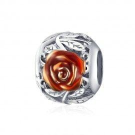 Zilveren bedel Bloeiende roos