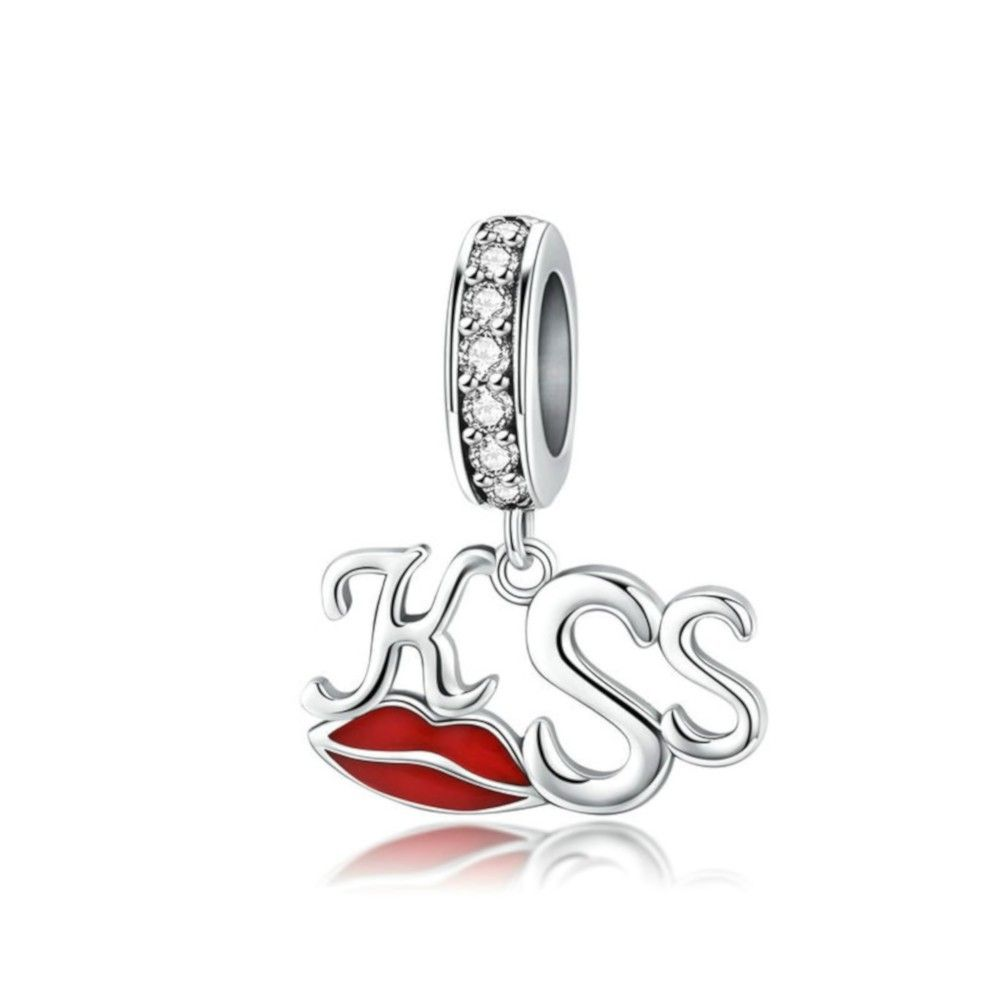 Sterling silver pendant charm Kiss red lips