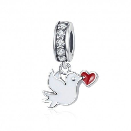 Sterling silver pendant charm White dove