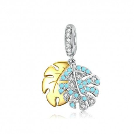 Sterling silver pendant charm Monstera leaf