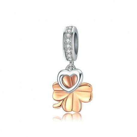 Charm colgante en plata de Ley chapada en oro rosa Trébol de cuatro hojas