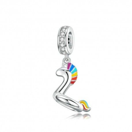 Sterling silver pendant charm Swimming unicorn