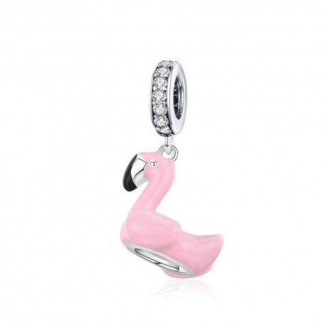 Zilveren hangende bedel Roze flamingo
