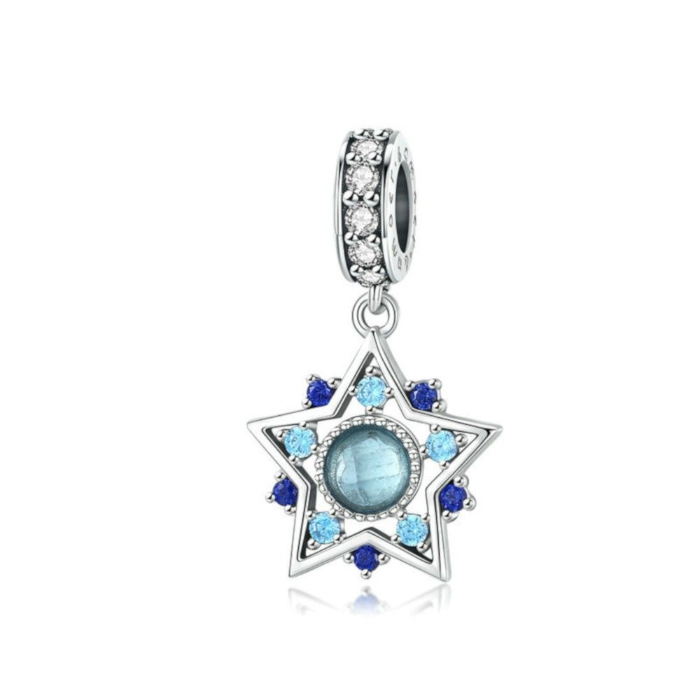 Zilveren hangende bedel Blauwe Boheemse ster