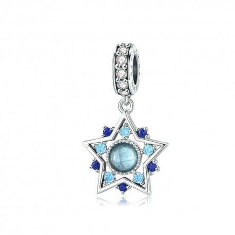 Sterling silver pendant charm Blue bohemian star