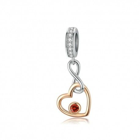 Sterling silver pendant charm with rose gold plated heart