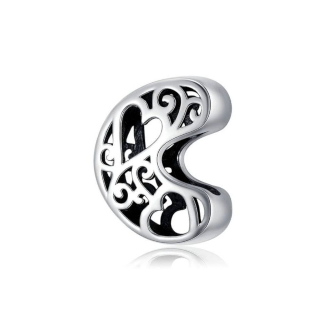 Sterling silver alphabet charm with hearts letter C