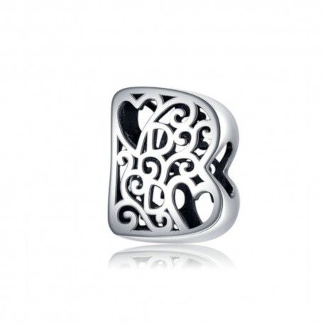 Sterling silver alphabet charm with hearts letter B