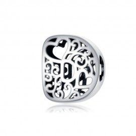 Zilveren alfabet bedel letter D met hartjes