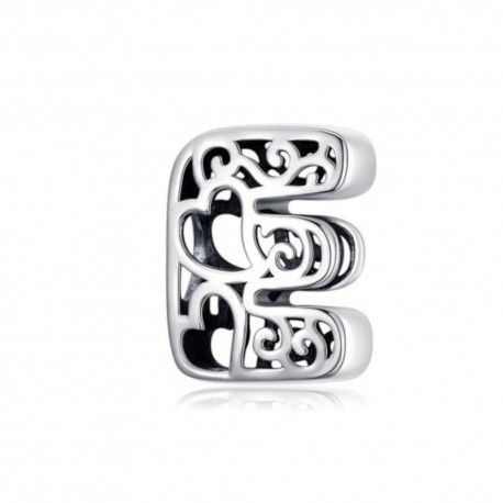 Sterling silver alphabet charm with hearts letter E