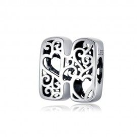 Sterling silver alphabet charm with hearts letter H