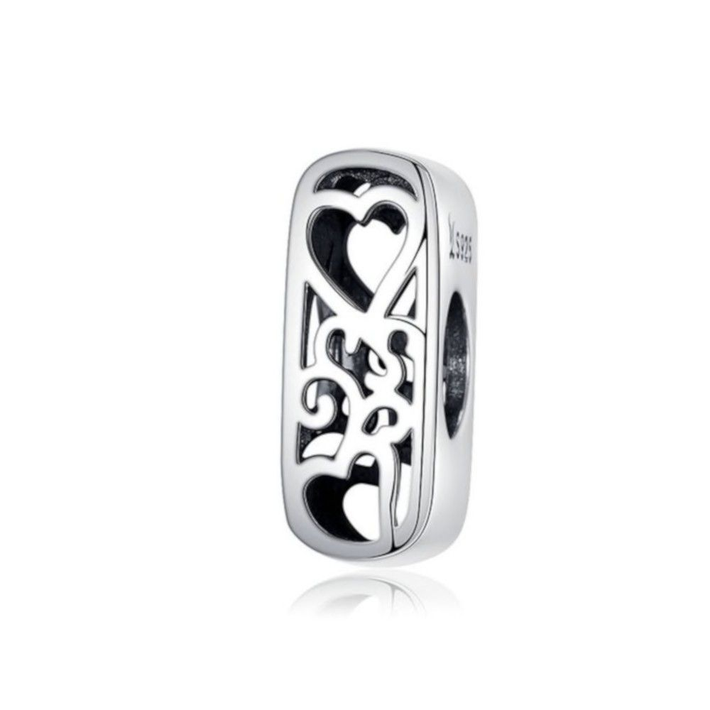 Sterling silver alphabet charm with hearts letter I