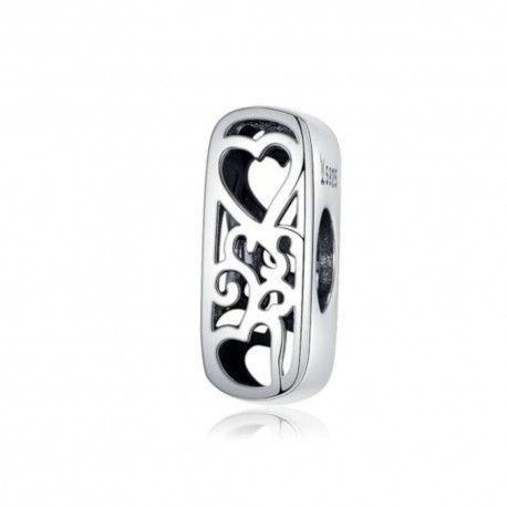 Zilveren alfabet bedel letter I met hartjes
