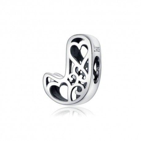 Zilveren alfabet bedel letter J met hartjes