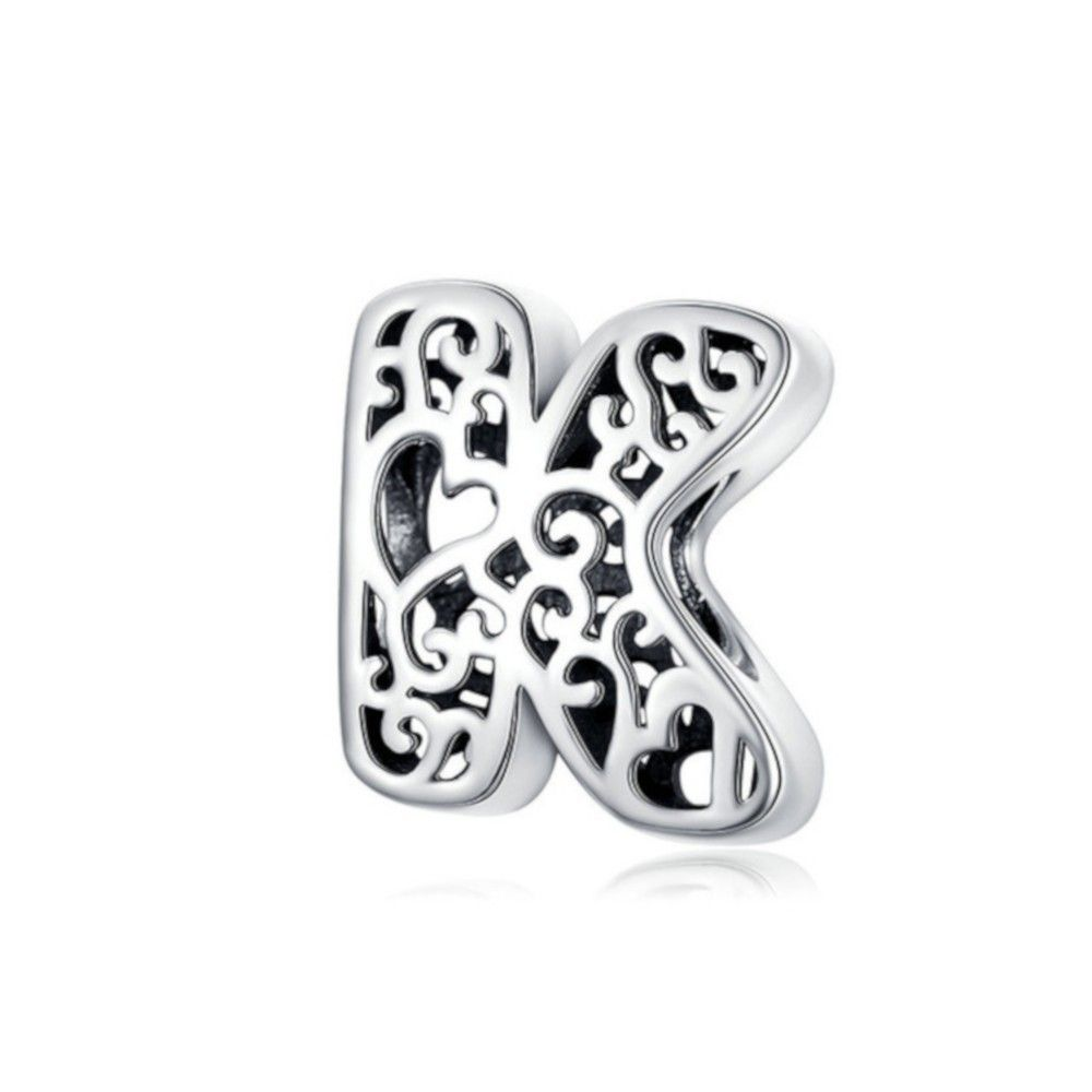 Sterling silver alphabet charm with hearts letter K