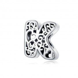 Sterling Silber Alphabet Charm Buchstabe K mit herzen