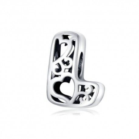 Sterling silver alphabet charm with hearts letter L
