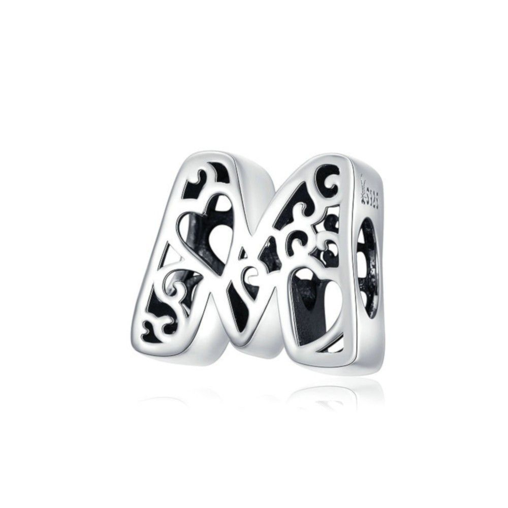 Sterling silver alphabet charm with hearts letter M