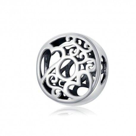 Zilveren alfabet bedel letter O met hartjes