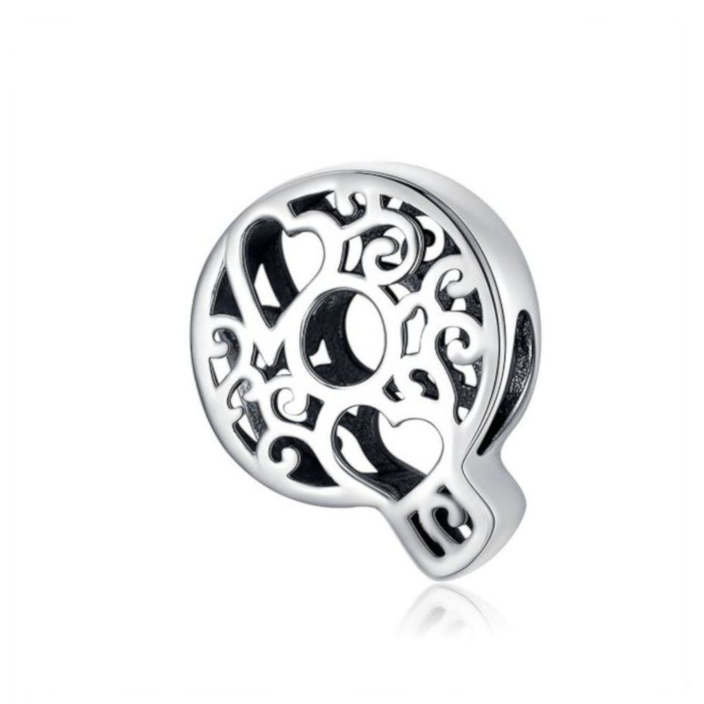 Sterling silver alphabet charm with hearts letter Q