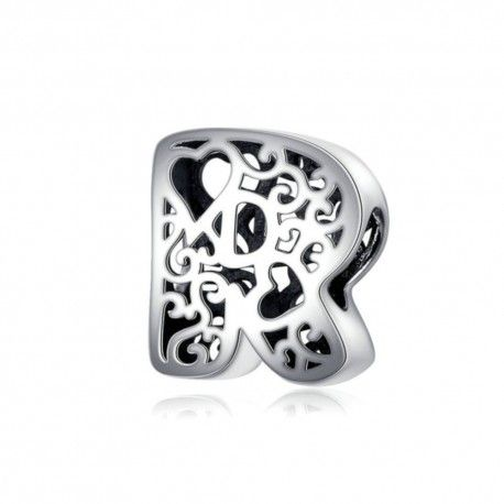 Sterling silver alphabet charm with hearts letter R