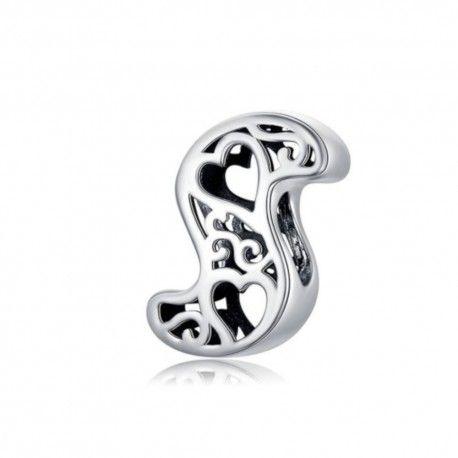 Zilveren alfabet bedel letter S met hartjes