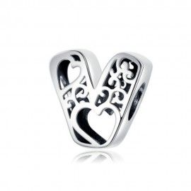 Sterling silver alphabet charm with hearts letter V