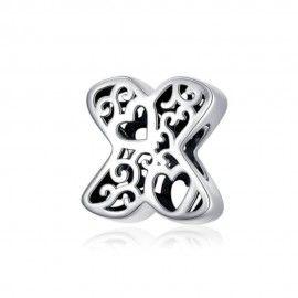 Charm alfabeto in argento lettera X con con cuori