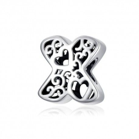 Sterling silver alphabet charm with hearts letter X