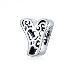 Sterling silver alphabet charm with hearts letter Y