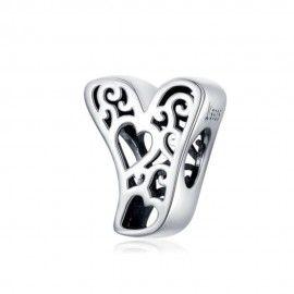 Zilveren alfabet bedel letter Y met hartjes